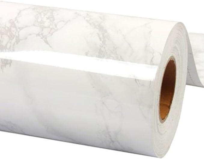 wDragon 56EGFDSGDF - autoadhesivo diseño mármol para encimera de cocina de vinilo, 60x200cm, Blanco y gris: Amazon.es: Hogar