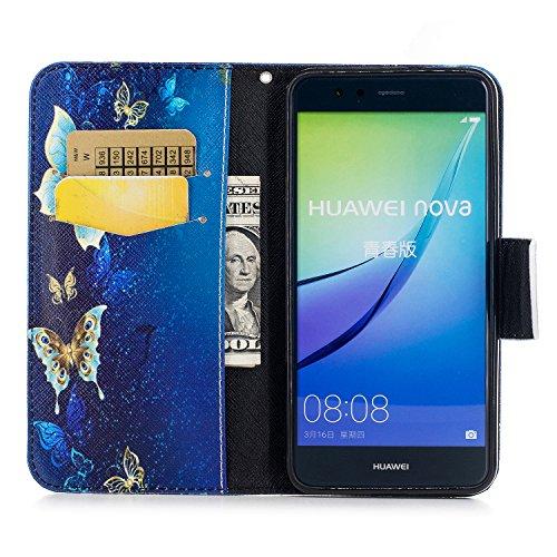 Artfeel Huawei P10 Lite Wallet Flip Hülle,Stilvoll Farbmalerei Muster Tasche,[Magnetverschluss] Premium PU Bookstyle Leder Brieftasche mit Kredit Kartenfächer und Klapptasche Stoßfest Schutz Handyhüll Blauer Goldener Schmetterling