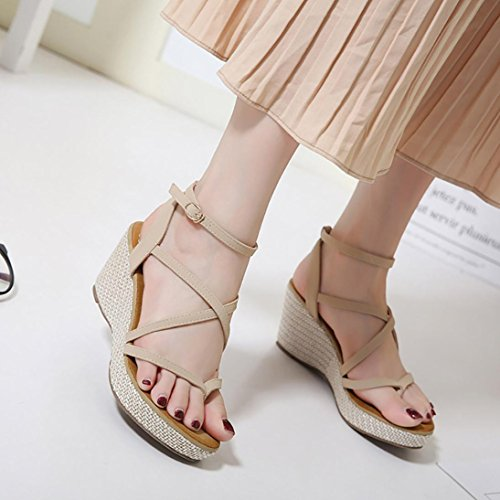 Sandals Gladiator Platforms Women Fashion Khaki Wedge Shoes Girls Summer Jamicy wOIq0YY