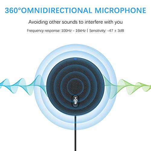 USB Conference Microphone,XIIVIO 360° Omnidirectional Condenser PC Microphones with Mute Plug & Play Compatible with Mac OS X Windows for Video Conference,Gaming,Chatting,Skype