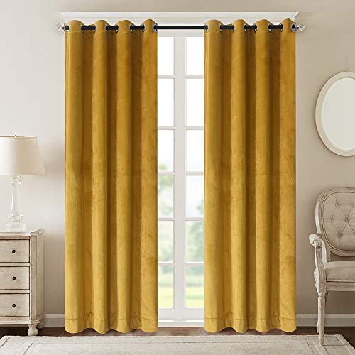 Roslyn home Velvet Room Darkening Curtains Thermal Insulated Grommet Window Curtain Panel for Living Room Yellow 50Wx96L(2 Panels) Custom Drapery