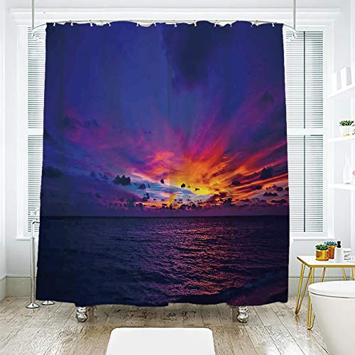 scocici Bath Curtain Suit Bathroom Waterproof Curtain Bath Curtain,Farm House Decor,Dream Sunset in Ocean Northern Lights Beyond Pacific Sea Atmosphere Photo,Purple Blue,78.7