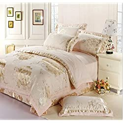 wwgy Flash Sale Bedding Gold Floral Bed Sheet Set Warm and Soft Bedspread Gifts Tribute Silk Comforter 4Pcs Queen King , king