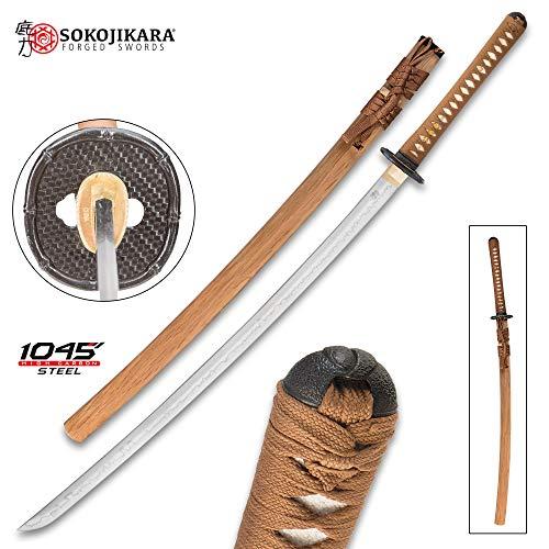 Sokojikara Bambusa Handmade Katana/Samurai Sword - T10 High Carbon Steel, Hand Forged, Clay Tempered - Genuine Ray Skin; Iron Tsuba - Functional, Full Tang, Battle Ready (Best Japanese Forged Irons)