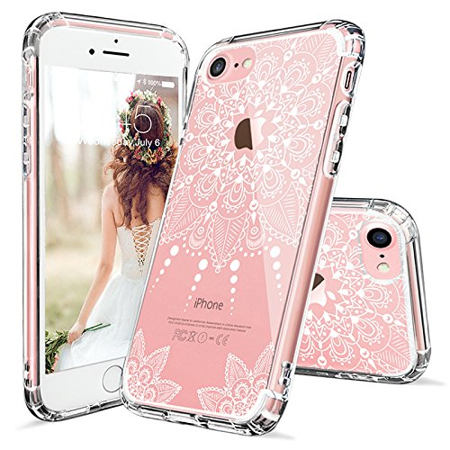wholesale dealer 43ab7 ae6da iPhone 7 Case, iPhone 7 Clear Case, MOSNOVO White Henna Mandala Floral Lace  Clear Design Printed Transparent Hard Case with TPU Bumper Protective Back  ...