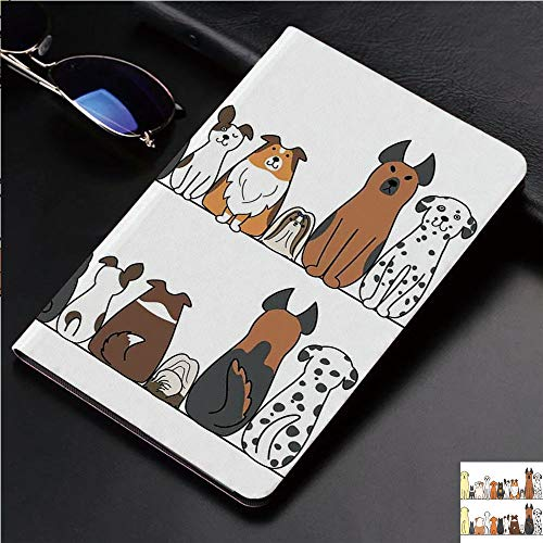 Fashion Print Case for iPad 2,iPad 3,iPad 4,Soft Back Slim TPU Leather Smart Cover Case,Auto Sleep/Wake,Dog Family in a Row from Back and Front ()