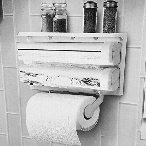 storage rack by RIVENBERT Portarrollos de Papel de Cocina Montado De Pared Con Film transparente y cortador de la hoja