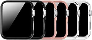 [3 Color Pack] Fintie Case Compatible with Apple Watch 38mm, Slim Lightweight Hard Protective Bumper Cover Compatible with All Versions 38mm Apple Watch Series 3/2/1 - Multi Color B