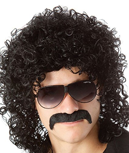 Seventies Fancy Dress (70s 80s Men's Party Fancy Dress Halloween Wig curly black mullet Rockstar Wig)