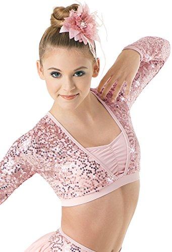 Balera Dance Crop Top Sequin Lace Long Sleeve Ballet Pink Adult Medium ()