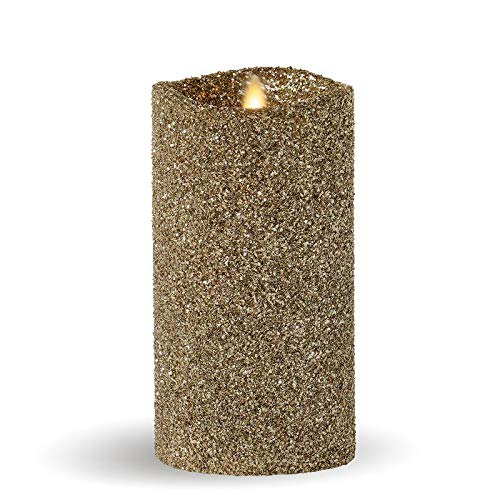 Luminara Vintage Champagne Glitter 7'' Flameless Pillar Candles w/Remote by Luminara (Image #1)