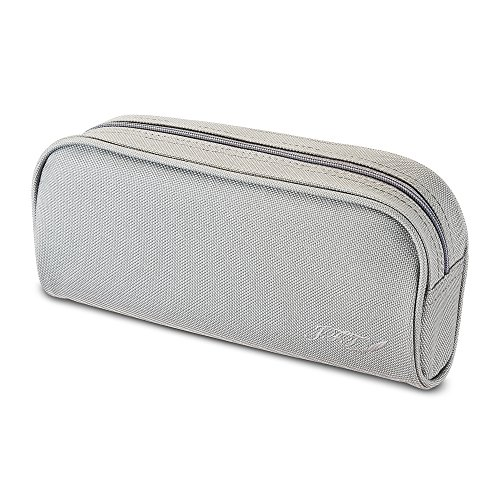 JFT Pencil Case Colored Gray - Quality Zippered Pencil Pouch Bag with Small Compartments, Use as Pen Organizer Holder Box