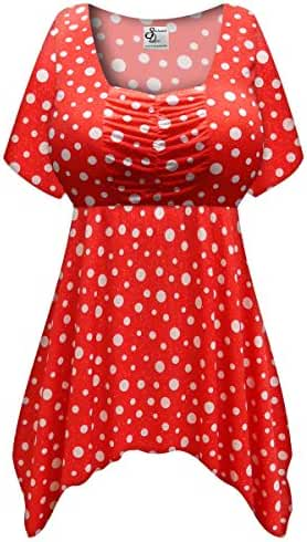 Red w/White Polka Dots Glittery Slinky Plus Size Supersize Long Babydoll Top