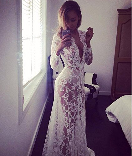 Royal Figure Union Brand New Thanksgiving Halloween Christmase Promotion Sexy Deep V-neck Long-sleeved White Lace Perspective Tight Jumpsuit Dress Trailing]()