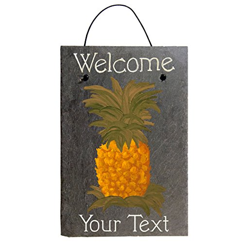 (Cohas Personalized Welcome Pineapple Sign on 8 by 12 inch Slate Board with Hand-Painted Brittany Pineapple and Custom Text)