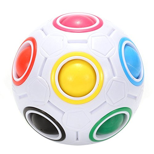 Jopuzia Fidget Ball Rainbow Magic Ball Puzzle Spherical Cube 3D Fidget Roll Toy Intelligence Educational Toys Cubes Stress Reliever Twist Puzzle Toys for Kids and Adults