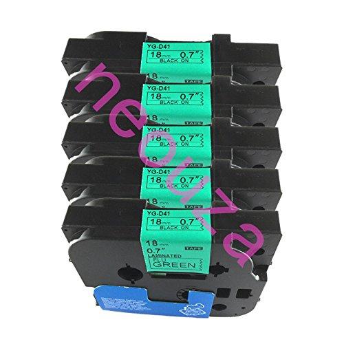 NEOUZA 5PK Compatible For Brother P-Touch Laminated TZe TZ Label Tape Cartridge 18mm x 8m (TZe-D41 Black on Gren Fluorescent)