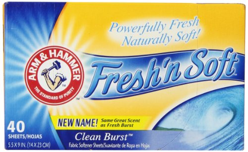 Price comparison product image Arm & Hammer Fresh 'N Soft Fabric Softener Sheets,  Clean Burst,  40 Count