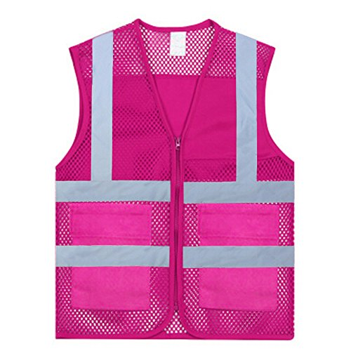 GOGO Unisex Volunteer Vest Safety Reflective Running Cycling Vest with Pockets, Slim Fit-Hot Pink-XL (Pink Womens Safety Vest)