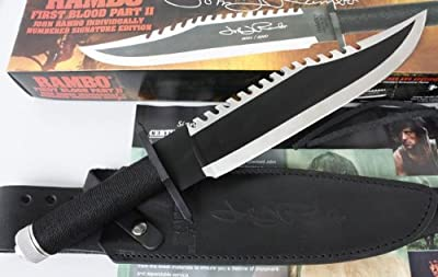 (Signature Edition) Genuine United Cutlery Frist Blood Rambo II Tactical Combat Knife - Camping Hunting Survival Bowie Knives , Pocket Knife, Camping Knife, Christmas Gift for Men