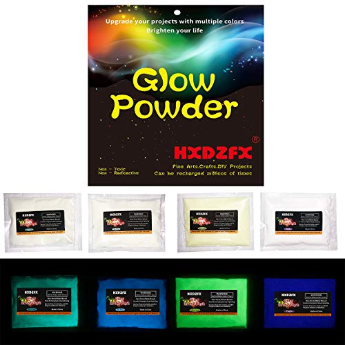 HXDZFX Glow in The Dark Pigment Powder UV Powder Safe Non-Toxic for Slime,Nails,Epoxy Resin,Acrylic Paint,Halloween,Fine Art and DIY Crafts (4 Colors,1.06oz Each)]()