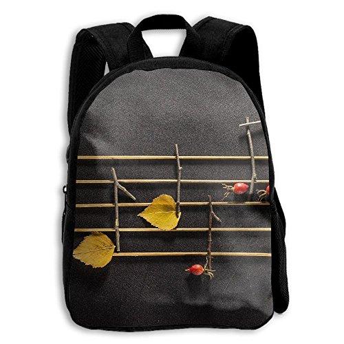Wooden Notes And Leaves School Backpack Children Shoulder Daypack Kid