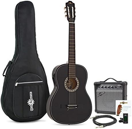 Guitarra Clasica Electroacustica de Gear4music Black con Amplificador: Amazon.es: Instrumentos musicales