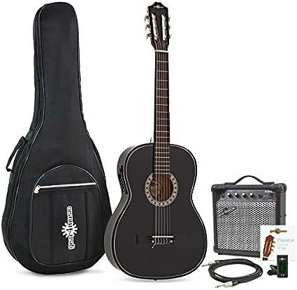 Guitarra Clasica Electroacustica de Gear4music Black con Amplificador