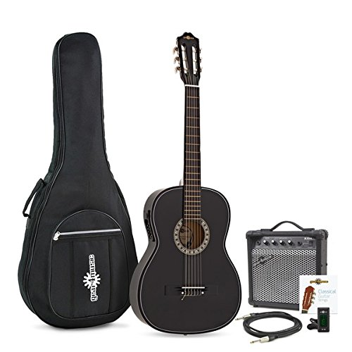 Classical Electro Acoustic Guitar, Black, by Gear4music + Amp Pack