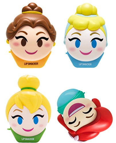 (Lip Smacker Disney Emoji Lip Balm, Tinkerbell/Belle/Cinderella/Ariel, Set of 4 Lip Balms)