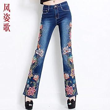 XiaoGao Bordados en Jeans, Pantalones Vaqueros, Pantalones ...
