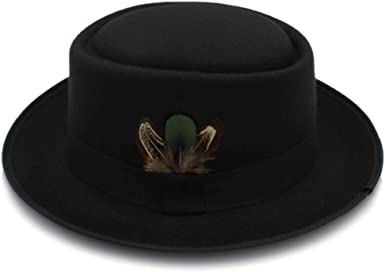 YChoice A Superb hat Classic Wool Felt Black Pork Pie Hat Porkpie Jazz Fedora Hat Round Top Trilby Stingy Brim Feather Cap for Perfect Winter