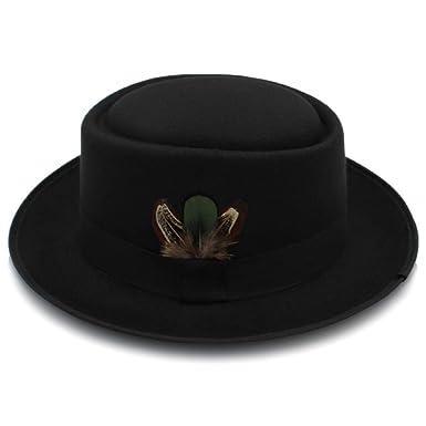 ad04a89aacd Amazon.com  Yhuisen Classic Fashion Wool Felt Black Pork Pie Hat Porkpie  Jazz Fedora Hat Round Top Trilby Stingy Brim Feather Cap (Color   Black