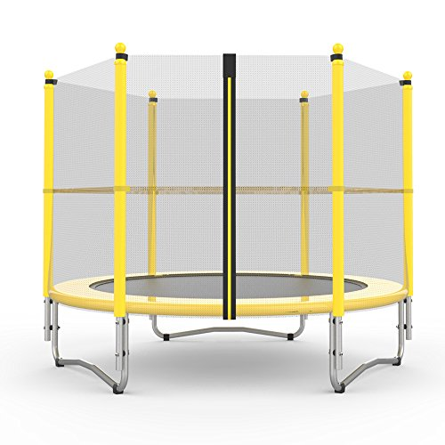 Festnight-60-Round-Outdoor-Trampoline-Combo-with-Enclosure-Netting-and-Spring-Safety-Heavy-Duty-Jumping-Mat-Cover-for-Kids-Jump-Playing-Yellow