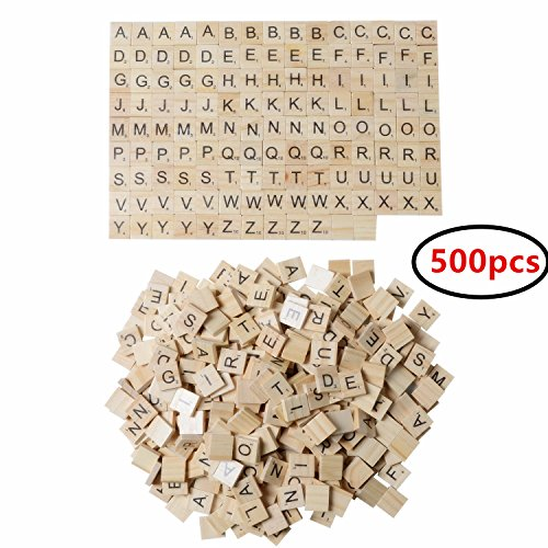XADP 500 Wooded Scrabble Tiles Letter Tiles Wood Pieces, 5 Full Sets of 100 Letters for Crafts, Pendants, Spelling, 500PCS