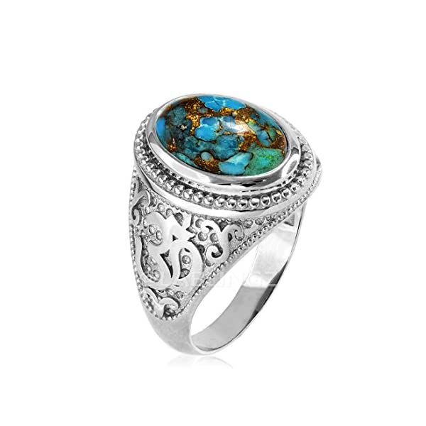 Sterling-Silver-Om-Aum-Blue-Copper-Turquoise-Yoga-Ring
