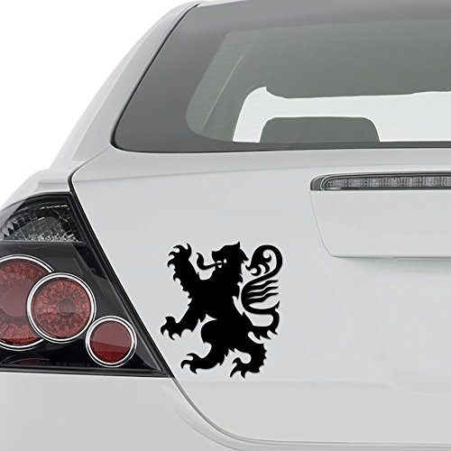 - Lion Crest Heraldry Coat of Arms Vinyl Decal Sticker - Wall Decor Motorcycle Car Truck Windows Bumper - Size [8 in/20 cm] Tall/Color- Matte Black
