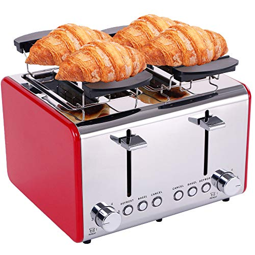 Toaster 4 slice,Extra-Wide Slot Stainless Steel Retro Red Toasters,6 Bread Settings,BAGEL/REHEAT/CANCEL/DEFROST,2…