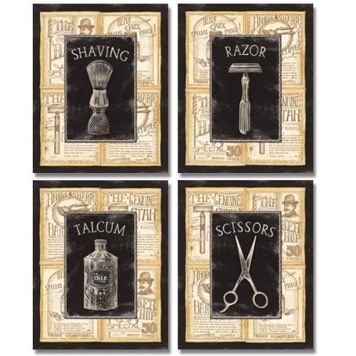 Gango Home Décor 4 Vintage Barber Shop Art Prints Shave Scissors 8 x 10 ()