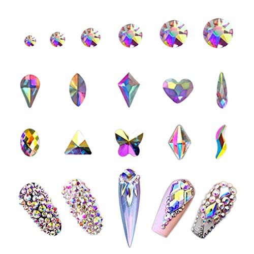 Cute Halloween Nails For Beginners (AB Crystal Rhinestones Set 1680 plus 100 Pieces, Round and Multishape AB Glass Rhinestone, Flatback AB Crystals for Nails Clothes Face)