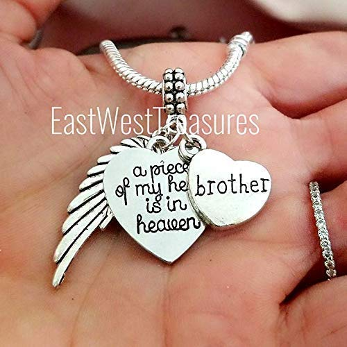 Brother Memorial Angel Wings w//Rhinestone Crystal Heart in Memory Sympathy Gift
