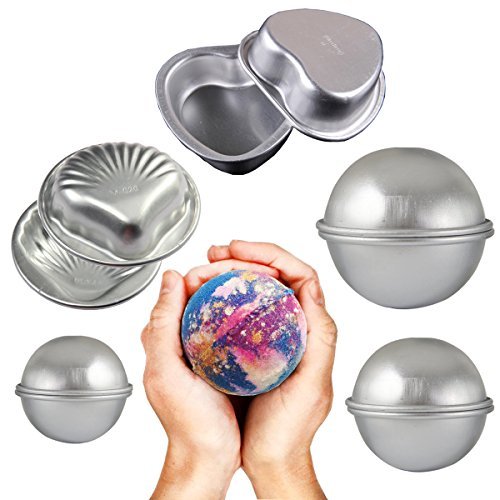 Emango DIY Metal Bath Bomb Molds Fizzies Set of 5, 2 Shell Shape, 2 Heart, 6 Hemispheres , Cake Pan Molds, Aluminum