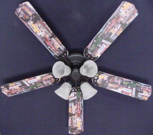 Ceiling Fan Designers Ceiling Fan, Hot Rod Cars Burger Diner, 52