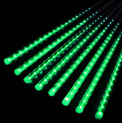 LED Xmas Tree String Light 30cm 8 Tube Meteor Shower Falling Star/Rain Drop/Icicle Snow (Green) Green Icicle Lights