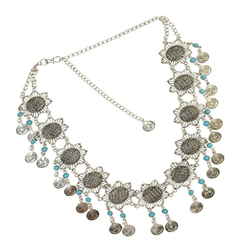 Homyl Womens Antique Silver Bohemain Coins Tassel Dangle Belly Dance Chain Waist Belt - Style (Dangle Belt)