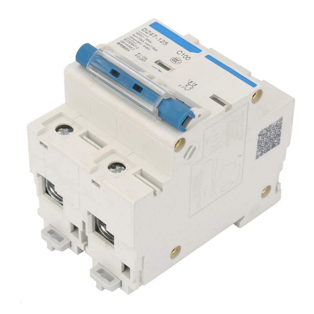 100A Miniature Circuit Breaker,400V 80//100//125A Leakage Protection Switch DZ47-125 2P Current Miniature Circuit Breaker