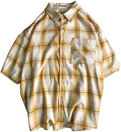 DXHNIIS Camisas a Cuadros Hombre de Manga Corta Camisas a Cuadros para Hombres Camisas de Hombre de Estilo Tropical Camisas de Verano 4 Colores M Camisas Amarillas: Amazon.es: Deportes y aire libre