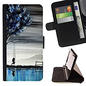For HTC ONE A9 Blue Lake Girl Art Painting Tree Deep Style PU Leather Case Wallet Flip Stand Flap Closure Cover