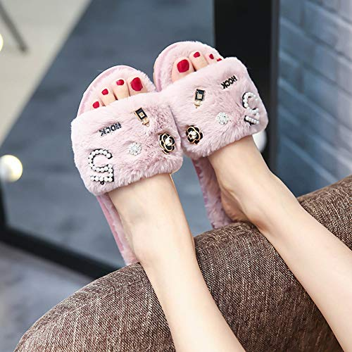Flops Cozy Slides Winter Fur Pink Slippers Decoration Fur Pearl Flip Perfume Camellia Women's Beading Sandals q7wUYY