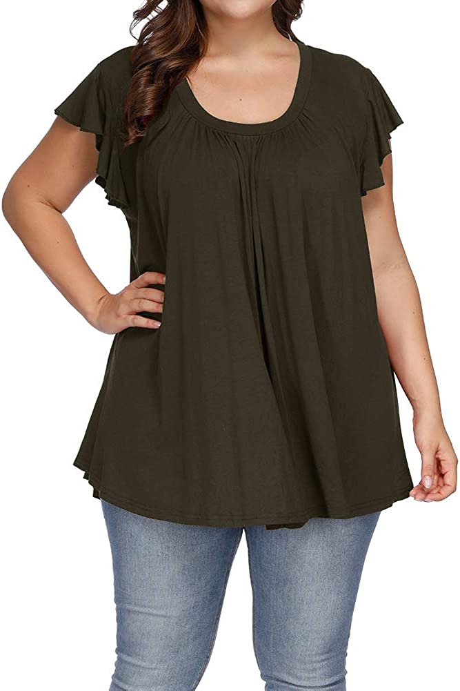 Allegrace Women's Plus Size Top Short Sleeve Casual Ruffle Loose Pleated Flowy Summer T Shirts